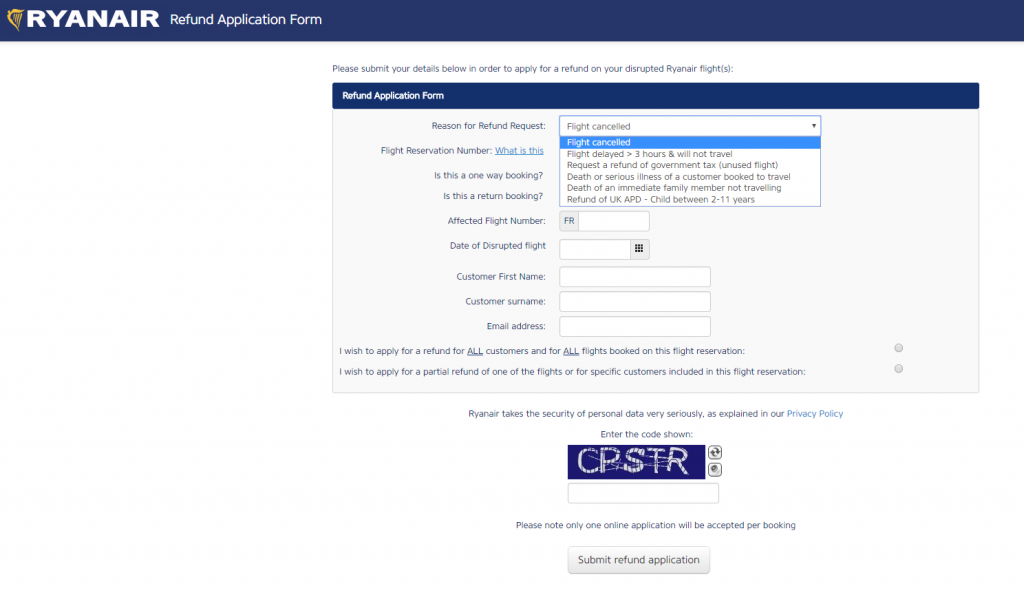 Ryanair Refund Application Form