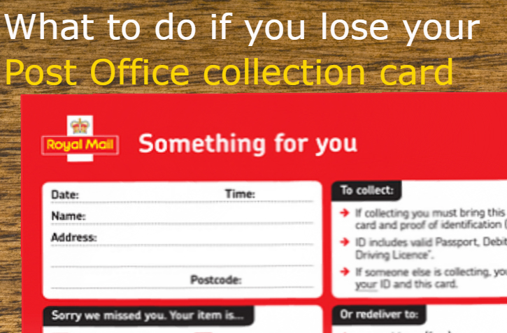 lost post office collection card