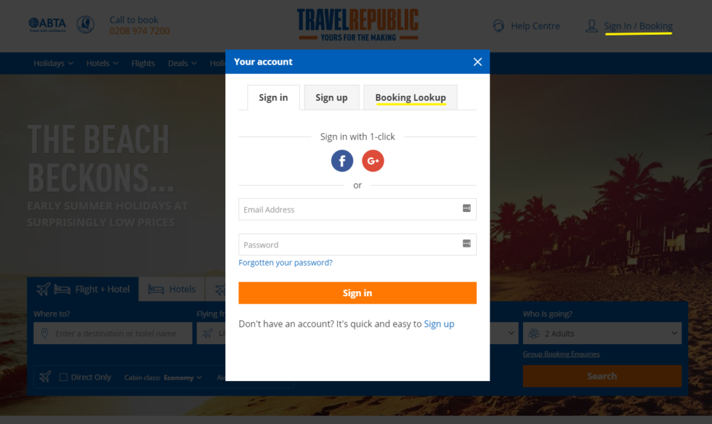 Travel Republic - Manage My Booking
